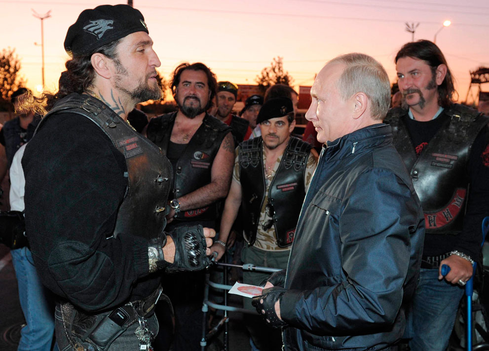 The President of Russia with the head of the Russian Hells Angels